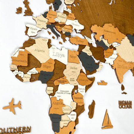 """Багатошарова дерев'яна карта світу на стіну """"5 кольорів"""""""