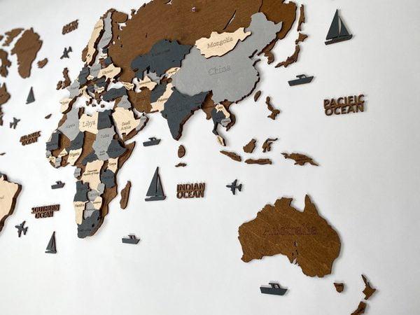 3D карта світу у сірих та коричневих кольорах