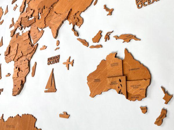 """Багатошарова дерев'яна карта світу у кольорі """"Горіх"""""""