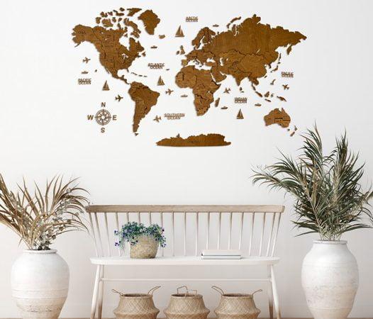 """Багатошарова дерев'яна карта світу у кольорі """"Венге"""""""