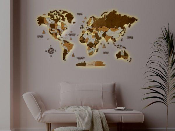 Дерев'яна карта світу з підсвідчуванням у коричневих кольорах