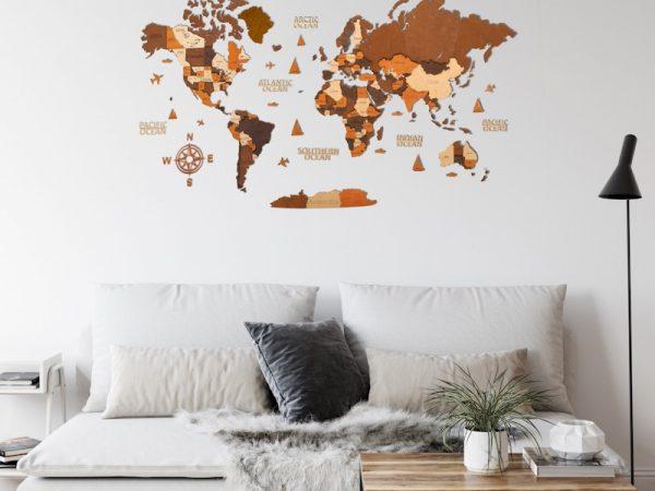 Багатошарова дерев'яна карта світу на стіну у кольорі венге та горіх