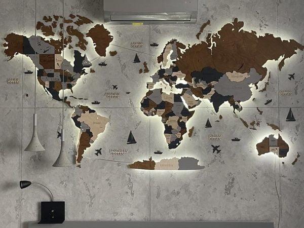 3D LED карта світу у сірому та коричневому кольорах